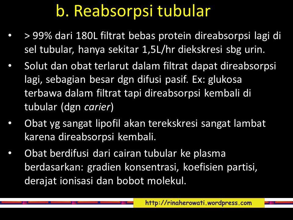 b. Reabsorpsi tubular > 99% dari 180L filtrat bebas protein direabsorpsi lagi di sel tubular, hanya sekitar 1,5L/hr diekskresi sbg urin.