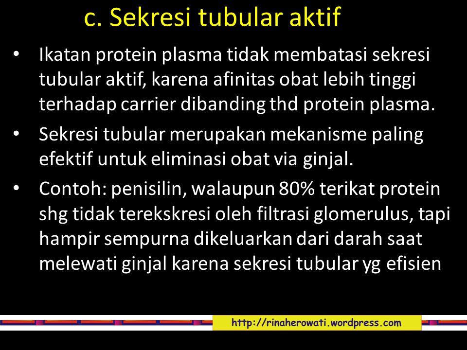c. Sekresi tubular aktif