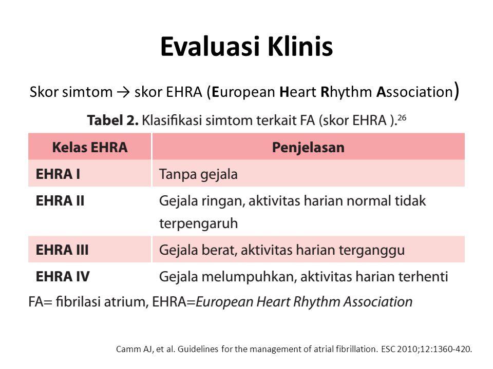 Evaluasi Klinis Skor simtom → skor EHRA (European Heart Rhythm Association)