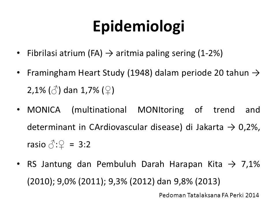 Epidemiologi Fibrilasi atrium (FA) → aritmia paling sering (1-2%)