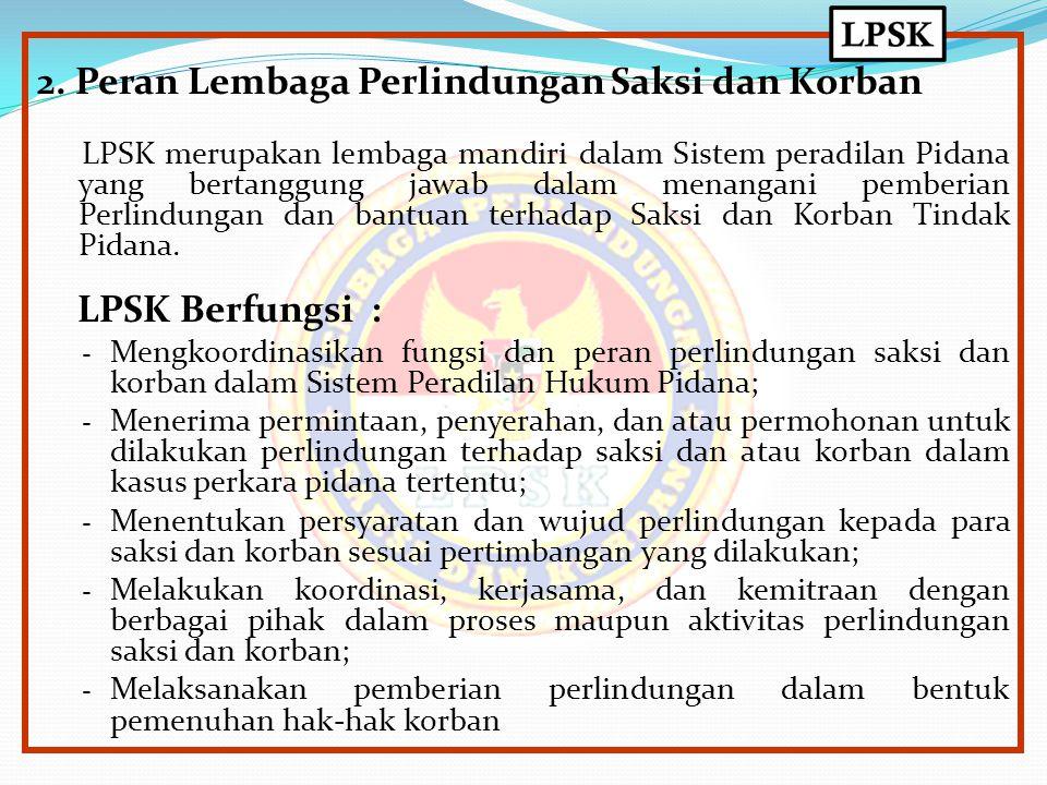 2. Peran Lembaga Perlindungan Saksi dan Korban