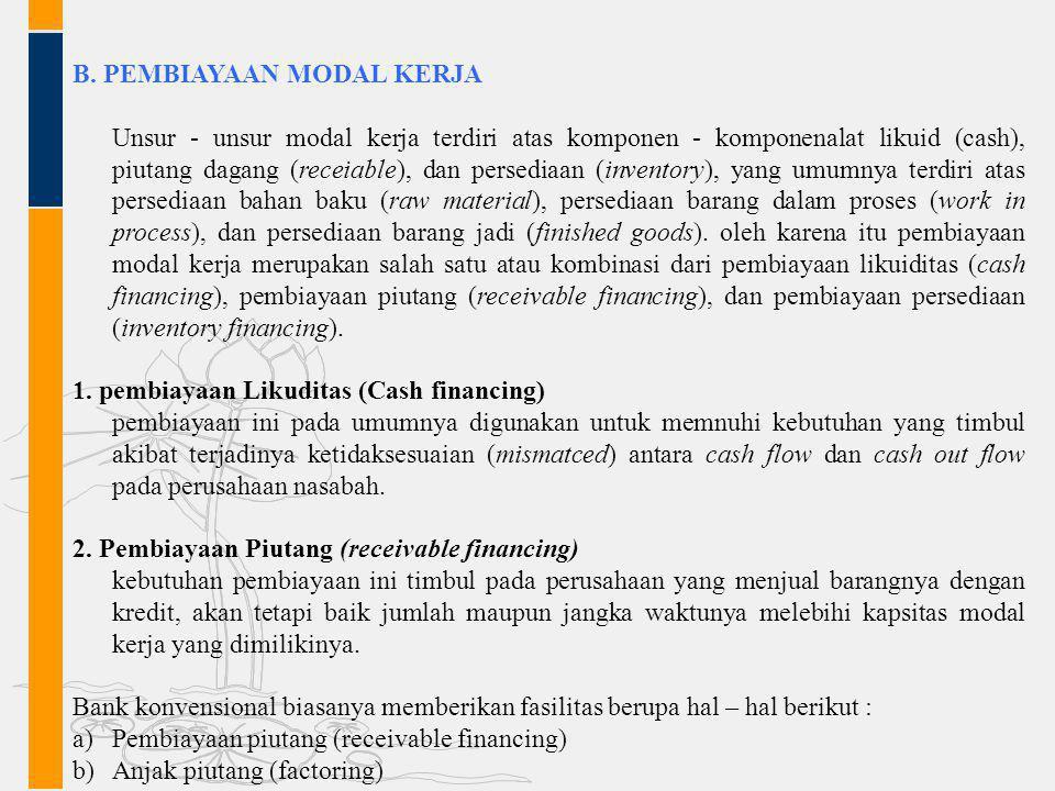 B. PEMBIAYAAN MODAL KERJA
