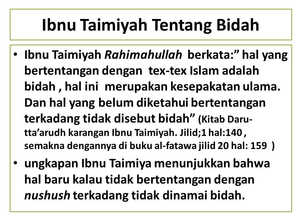 Ibnu Taimiyah Tentang Bidah
