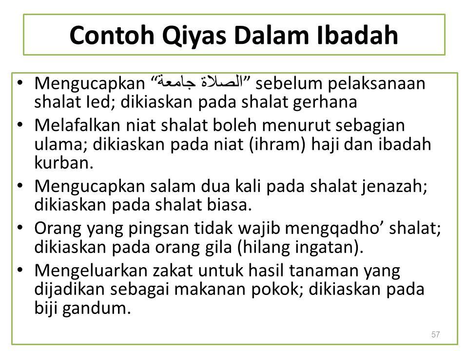 Contoh Qiyas Dalam Ibadah