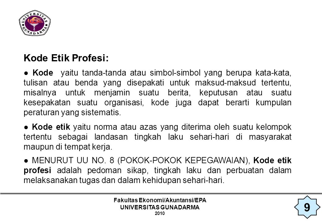 Fakultas Ekonomi/Akuntansi/EPA UNIVERSITAS GUNADARMA