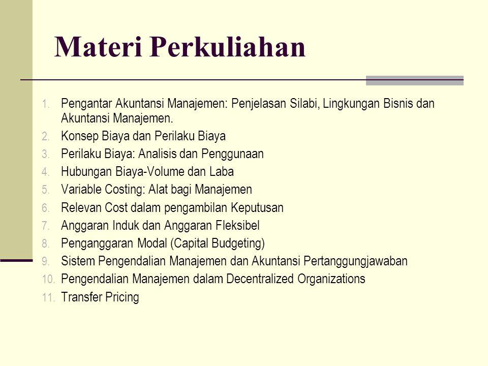 Materi Perkuliahan Pengantar Akuntansi Manajemen: Penjelasan Silabi, Lingkungan Bisnis dan Akuntansi Manajemen.
