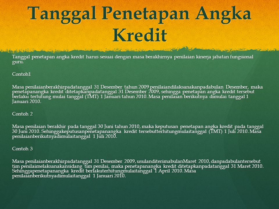 Tanggal Penetapan Angka Kredit