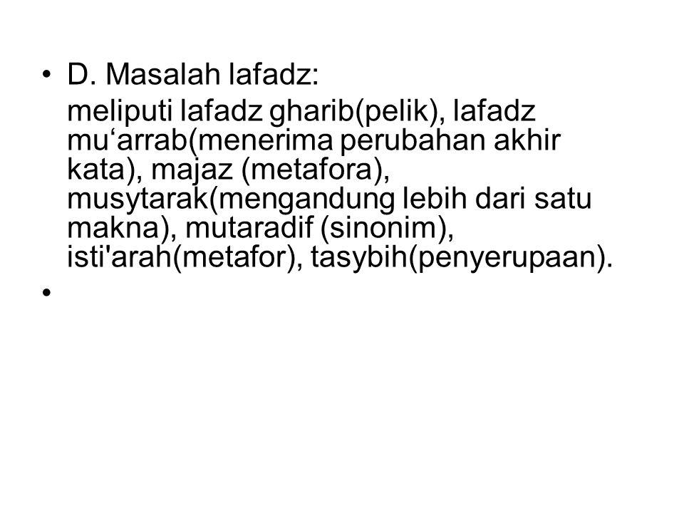 D. Masalah lafadz: