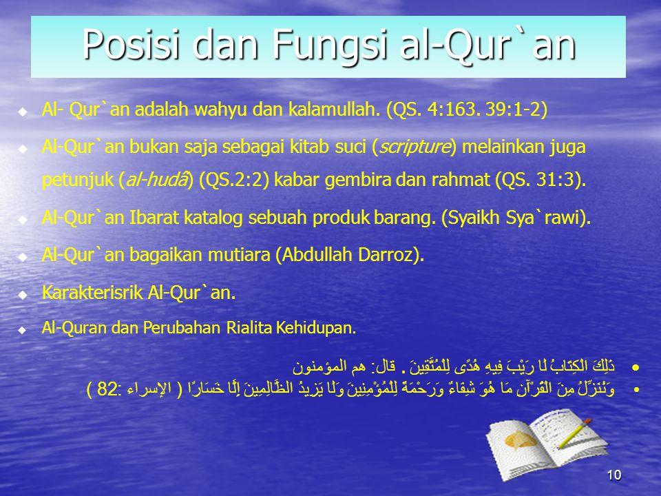 Posisi dan Fungsi al-Qur`an