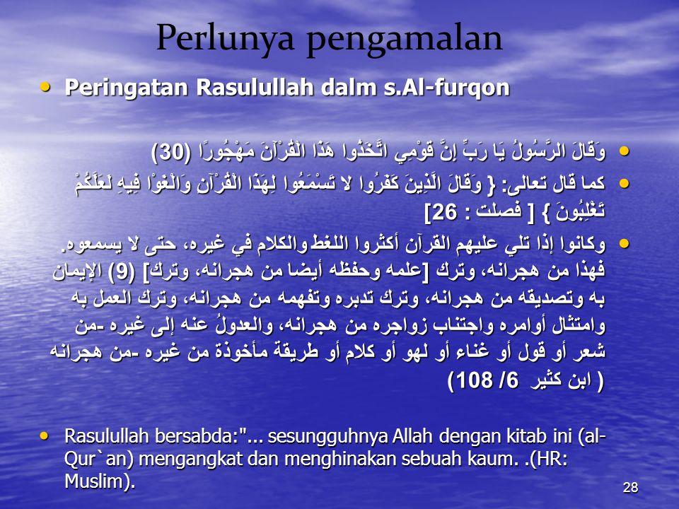 Perlunya pengamalan Peringatan Rasulullah dalm s.Al-furqon