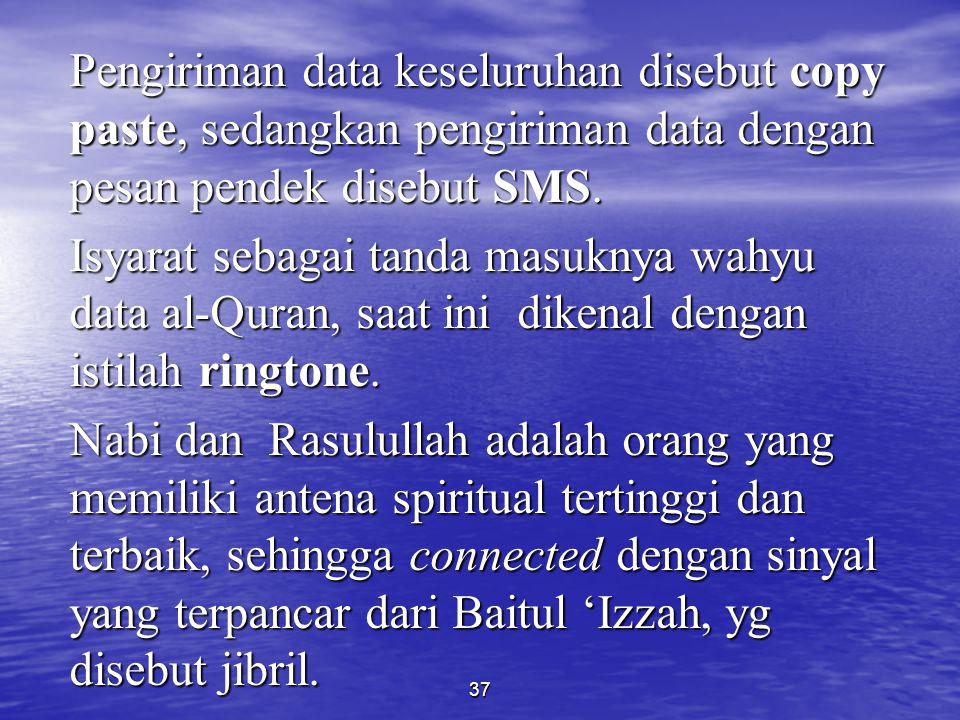 Pengiriman data keseluruhan disebut copy paste, sedangkan pengiriman data dengan pesan pendek disebut SMS.