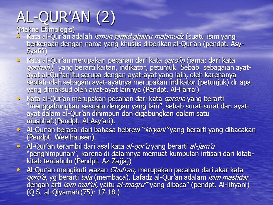 AL-QUR'AN (2) (Makna Etimologis)