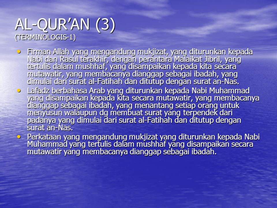 AL-QUR'AN (3) (TERMINOLOGIS-1)