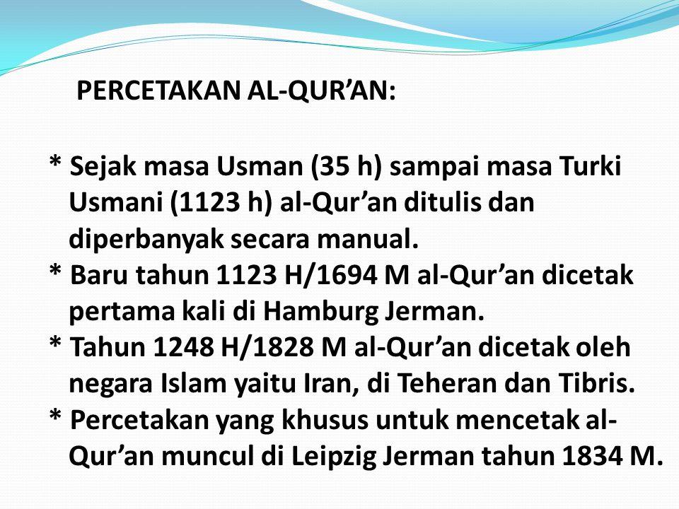 PERCETAKAN AL-QUR'AN: