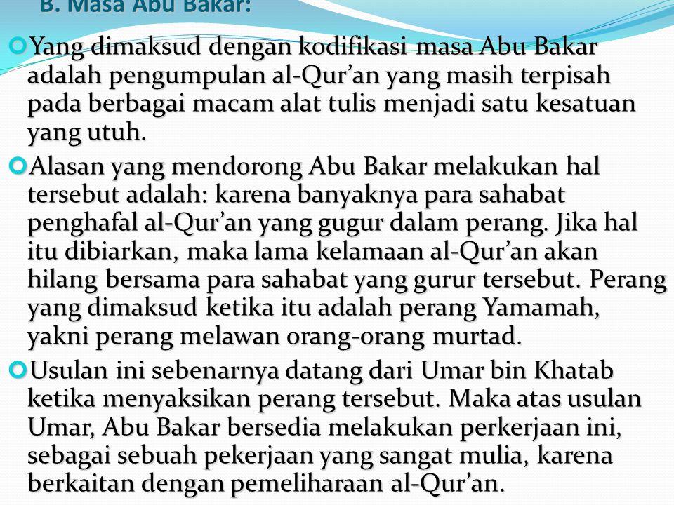 B. Masa Abu Bakar: