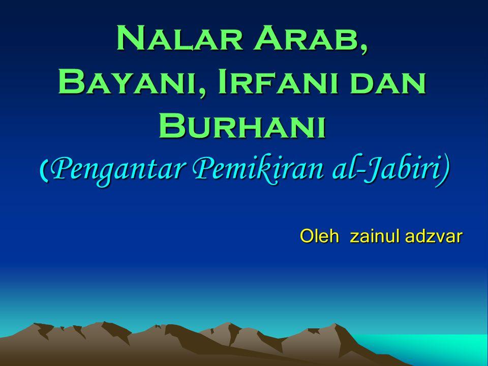 Nalar Arab, Bayani, Irfani dan Burhani (Pengantar Pemikiran al-Jabiri)