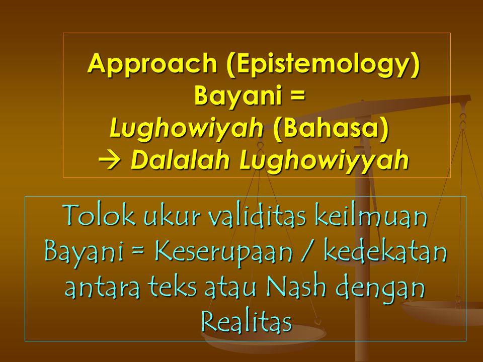 Approach (Epistemology) Bayani = Lughowiyah (Bahasa)  Dalalah Lughowiyyah