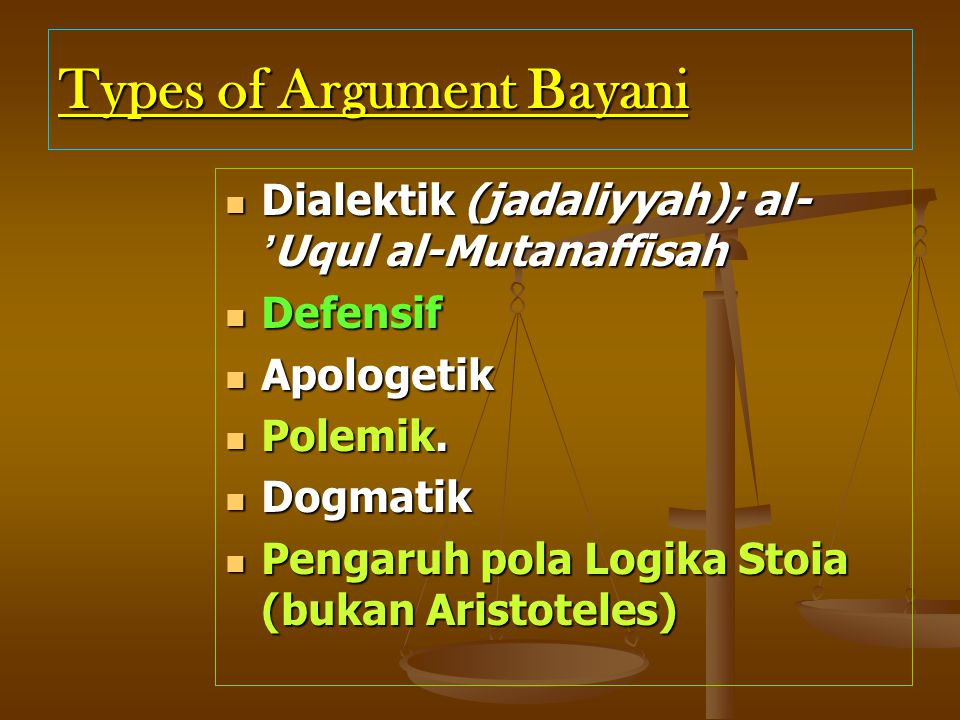 Types of Argument Bayani