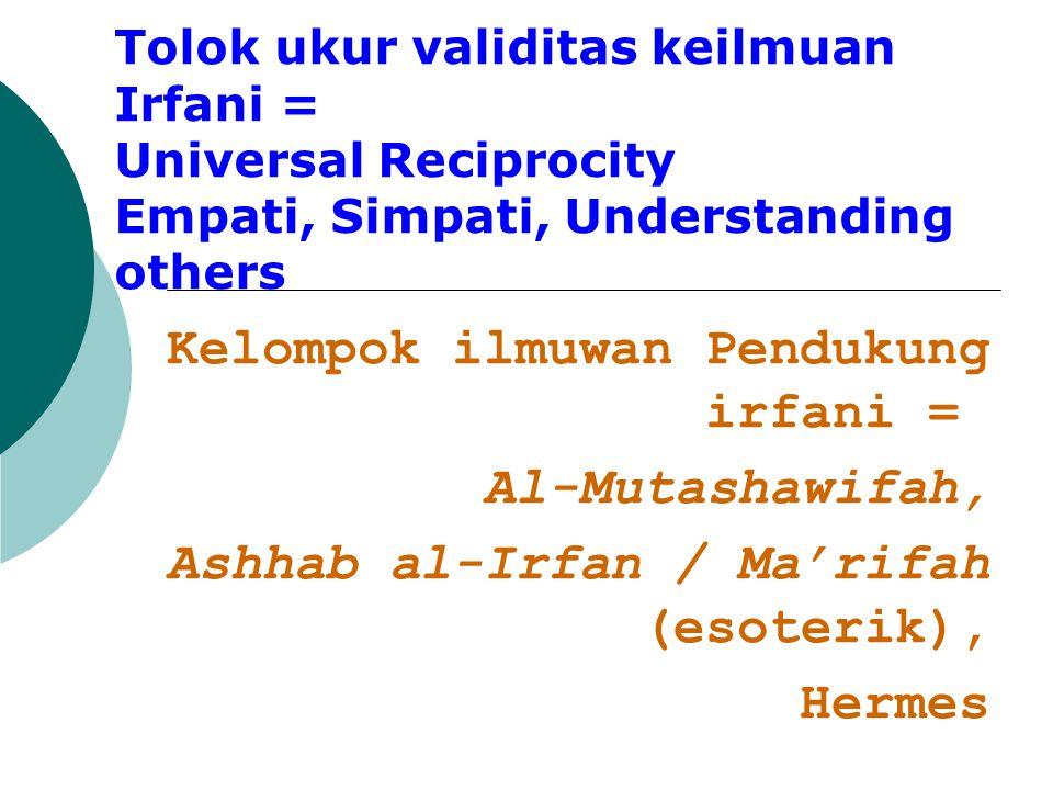 Kelompok ilmuwan Pendukung irfani = Al-Mutashawifah,