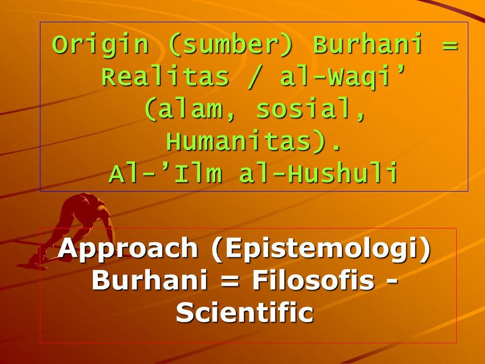 Approach (Epistemologi) Burhani = Filosofis - Scientific