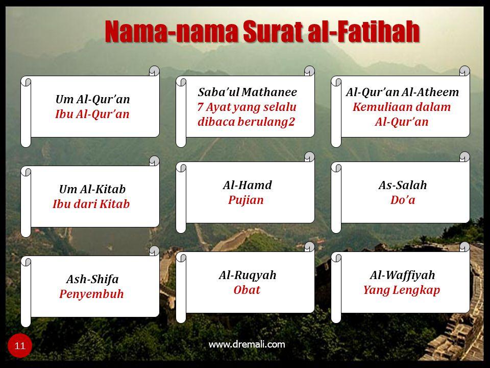 Nama-nama Surat al-Fatihah