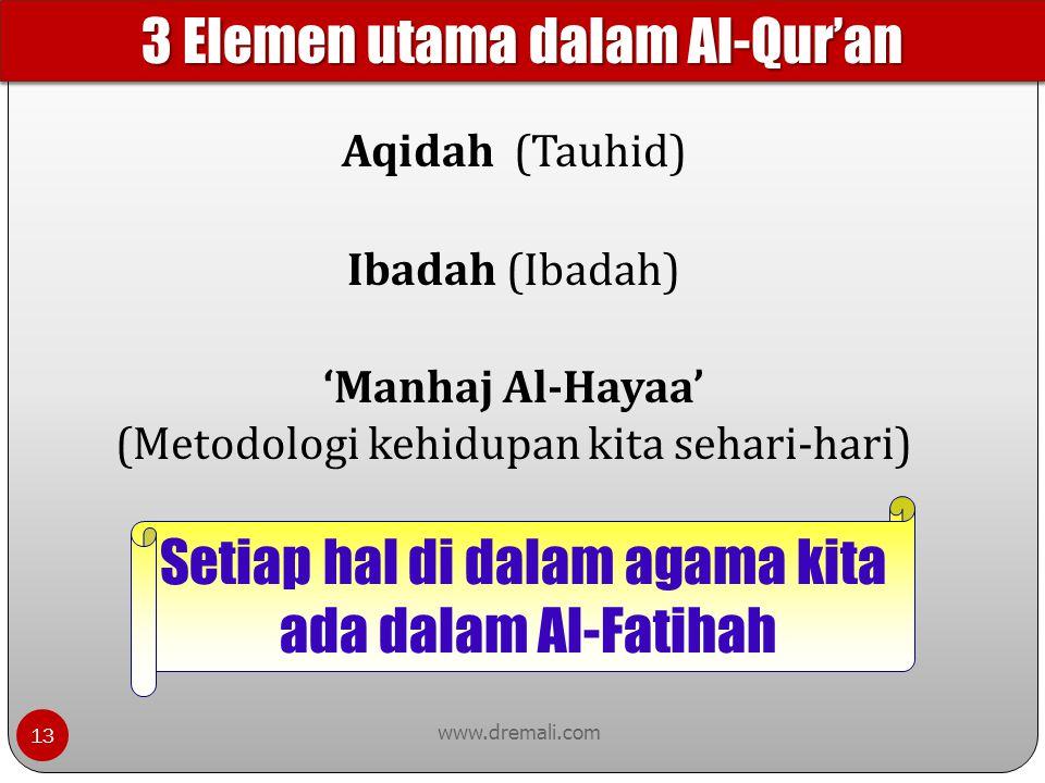 3 Elemen utama dalam Al-Qur'an