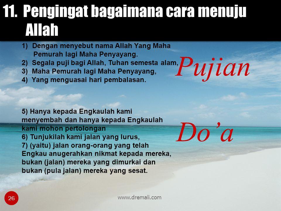 Pujian Do'a 11. Pengingat bagaimana cara menuju Allah