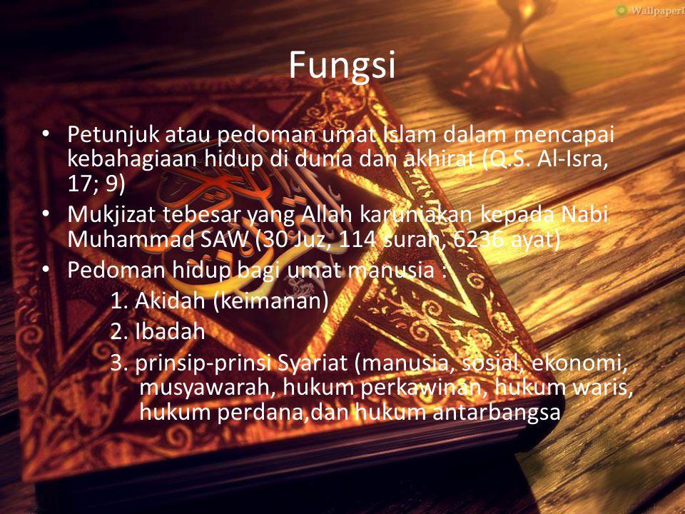 Fungsi Petunjuk atau pedoman umat Islam dalam mencapai kebahagiaan hidup di dunia dan akhirat (Q.S. Al-Isra, 17; 9)