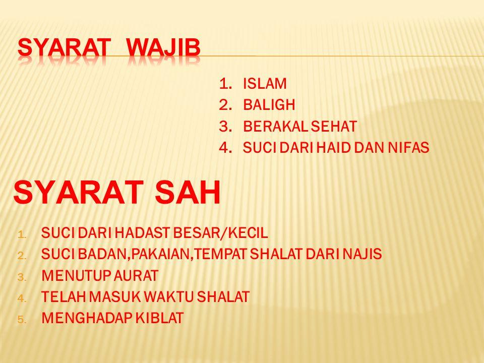 SYARAT SAH SYARAT WAJIB ISLAM BALIGH BERAKAL SEHAT
