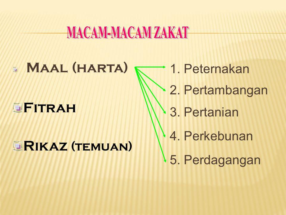 MACAM-MACAM ZAKAT Fitrah Rikaz (temuan) 1. Peternakan 2. Pertambangan