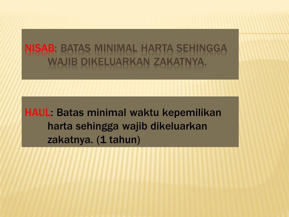 NISAB: Batas minimal harta sehingga wajib dikeluarkan zakatnya.