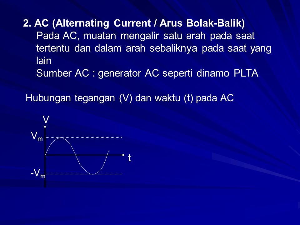 2. AC (Alternating Current / Arus Bolak-Balik)