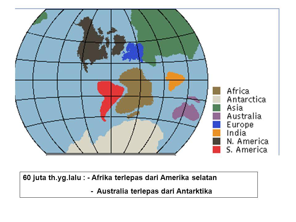 60 juta th.yg.lalu : - Afrika terlepas dari Amerika selatan