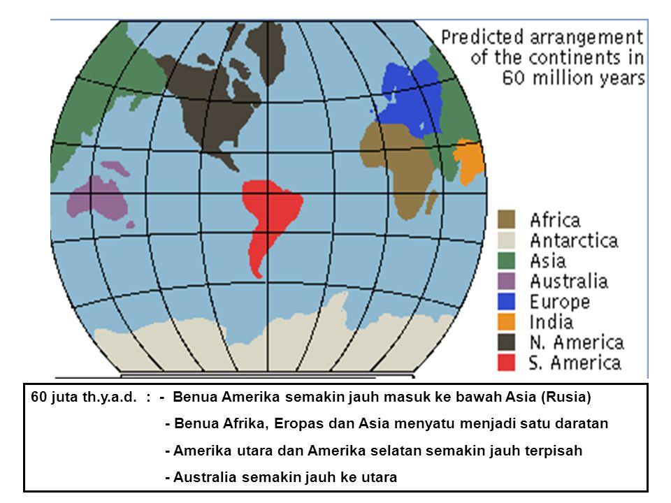 60 juta th.y.a.d. : - Benua Amerika semakin jauh masuk ke bawah Asia (Rusia)