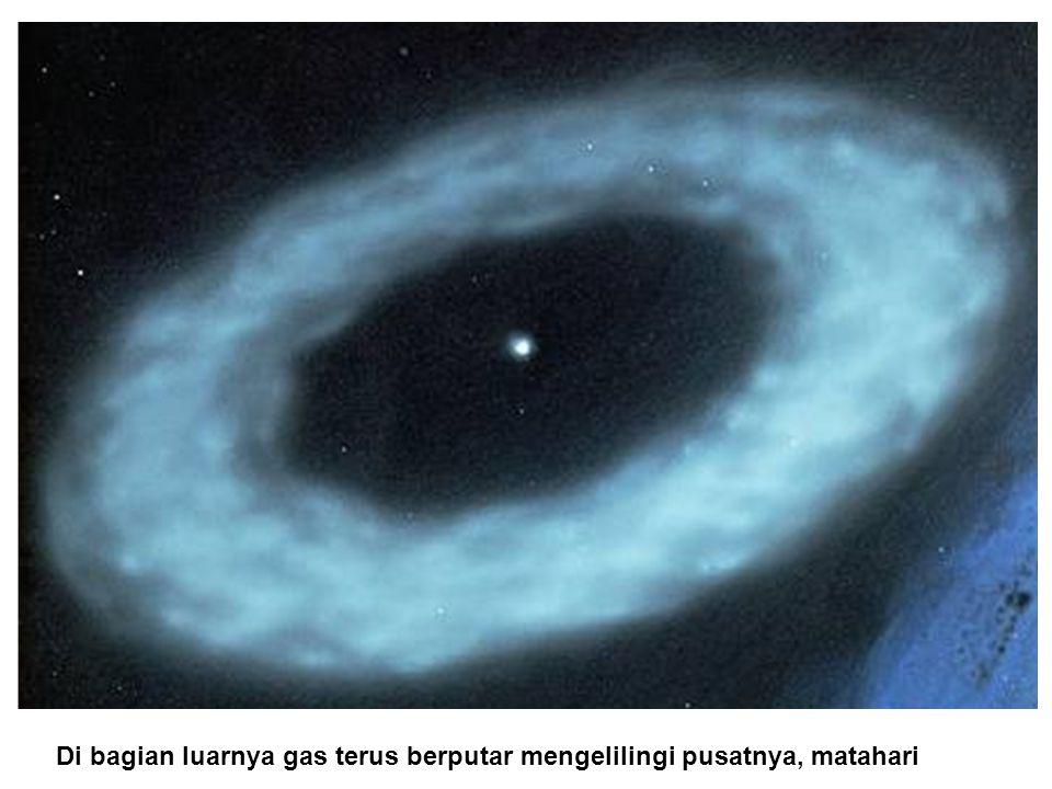 Di bagian luarnya gas terus berputar mengelilingi pusatnya, matahari