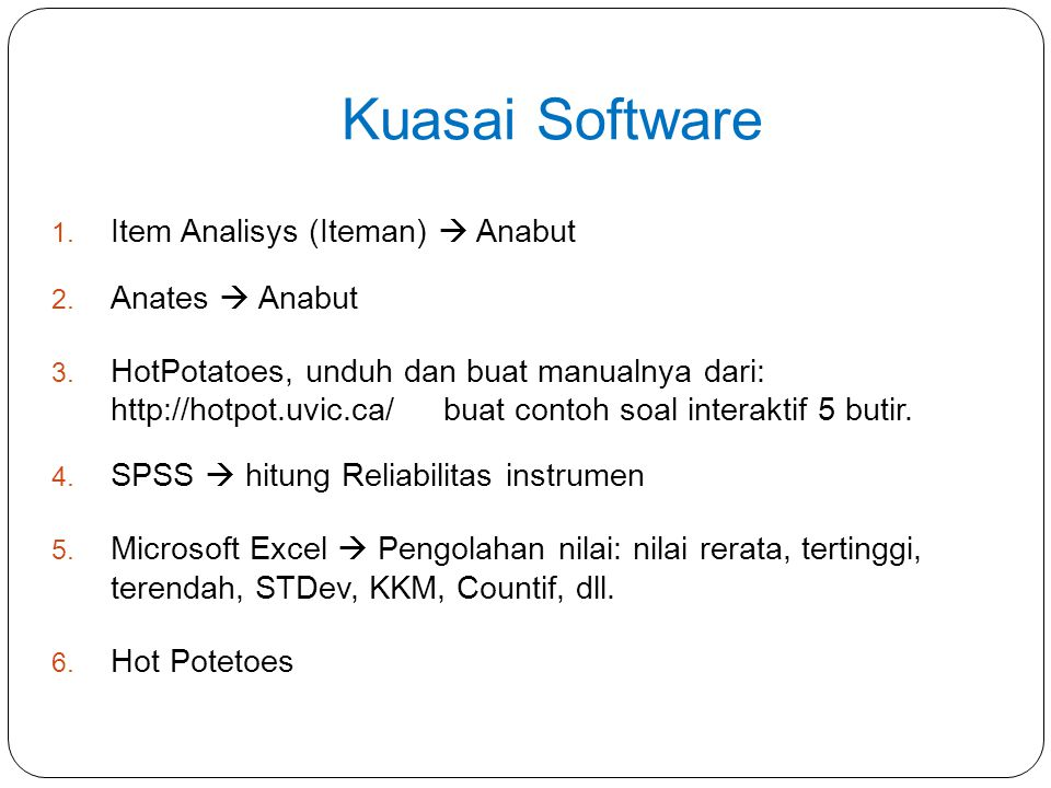 Kuasai Software Item Analisys (Iteman)  Anabut Anates  Anabut