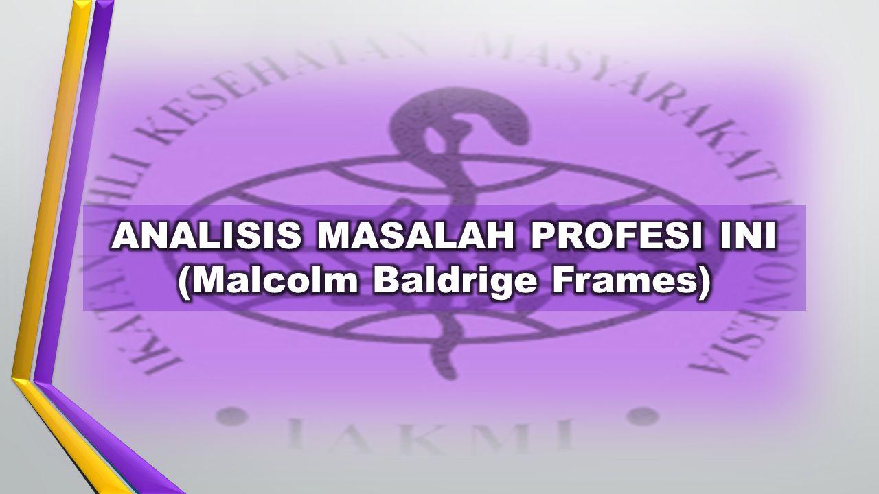ANALISIS MASALAH PROFESI INI (Malcolm Baldrige Frames)