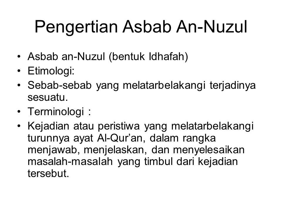 Pengertian Asbab An-Nuzul