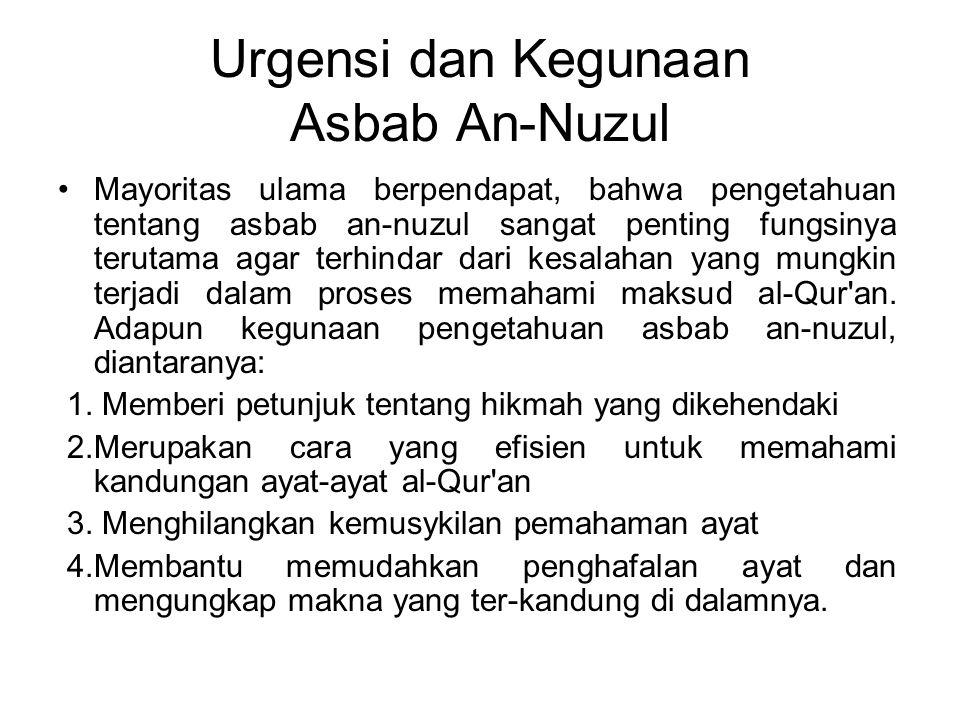 Urgensi dan Kegunaan Asbab An-Nuzul