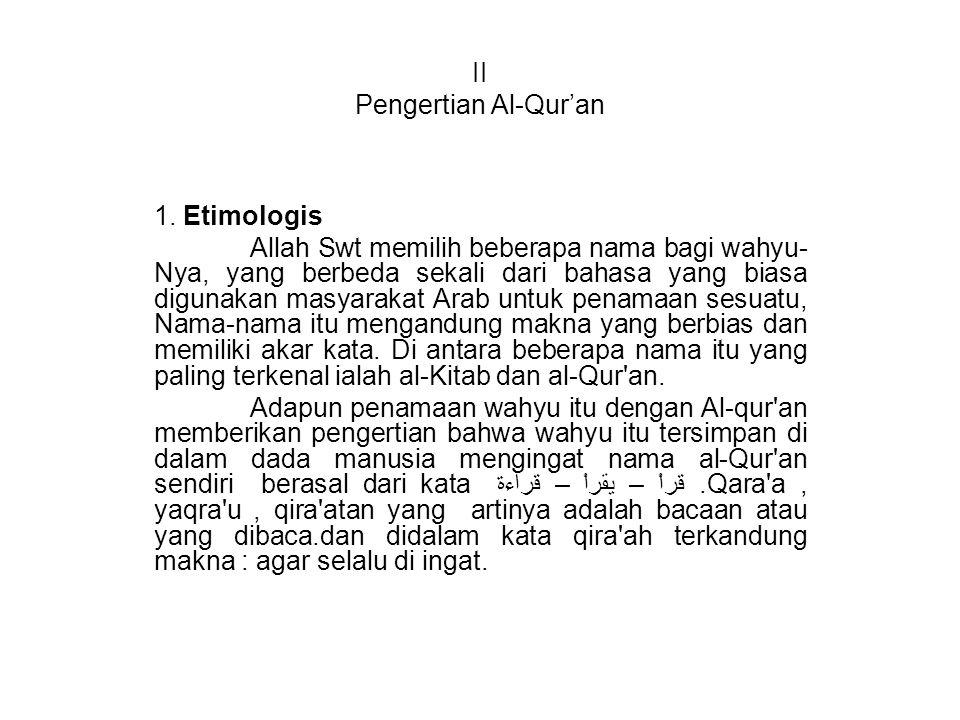 II Pengertian Al-Qur'an