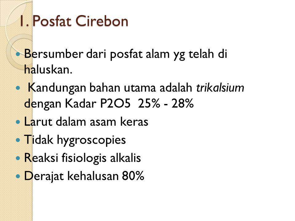 1. Posfat Cirebon Bersumber dari posfat alam yg telah di haluskan.