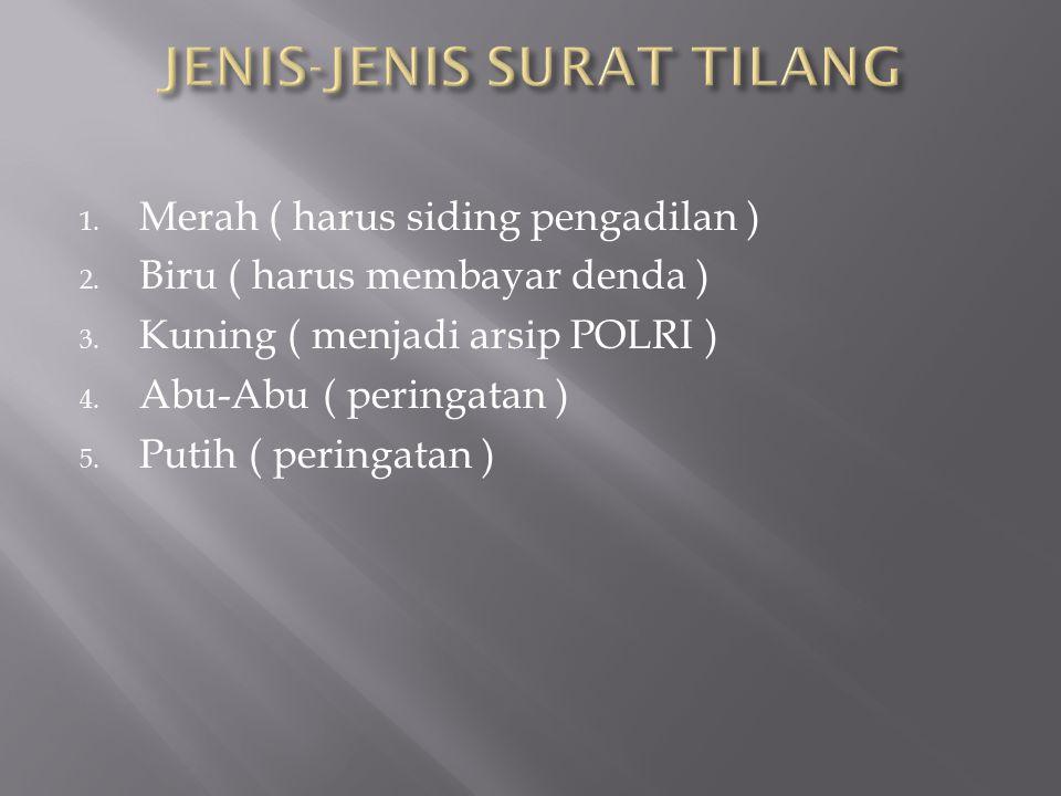 JENIS-JENIS SURAT TILANG