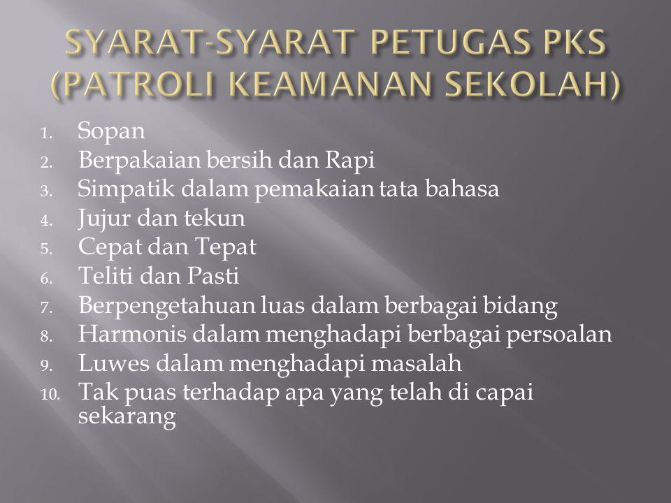 SYARAT-SYARAT PETUGAS PKS (PATROLI KEAMANAN SEKOLAH)