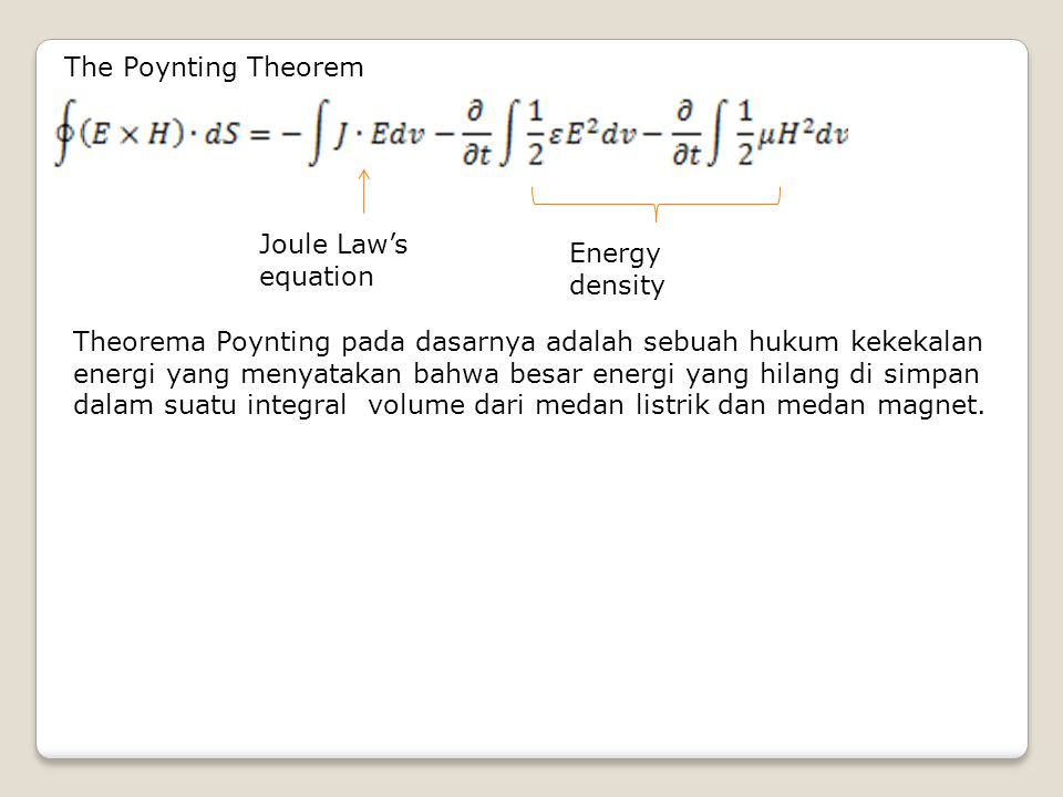 The Poynting Theorem Joule Law's equation. Energy density.