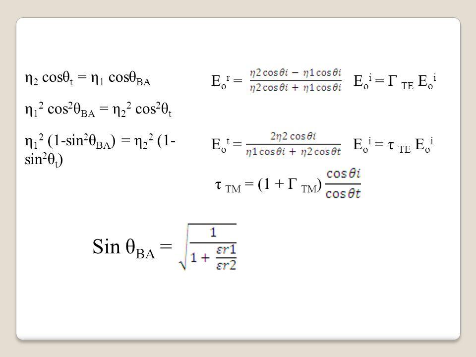 Sin θBA = η2 cosθt = η1 cosθBA Eor = Eoi = Г TE Eoi
