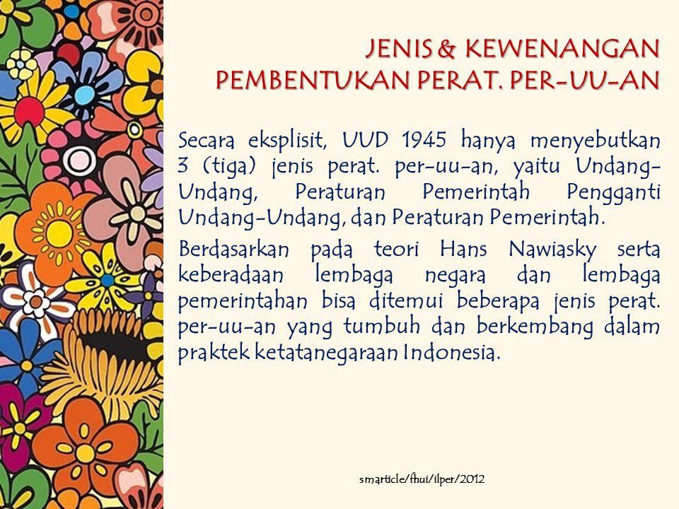 JENIS & KEWENANGAN PEMBENTUKAN PERAT. PER-UU-AN