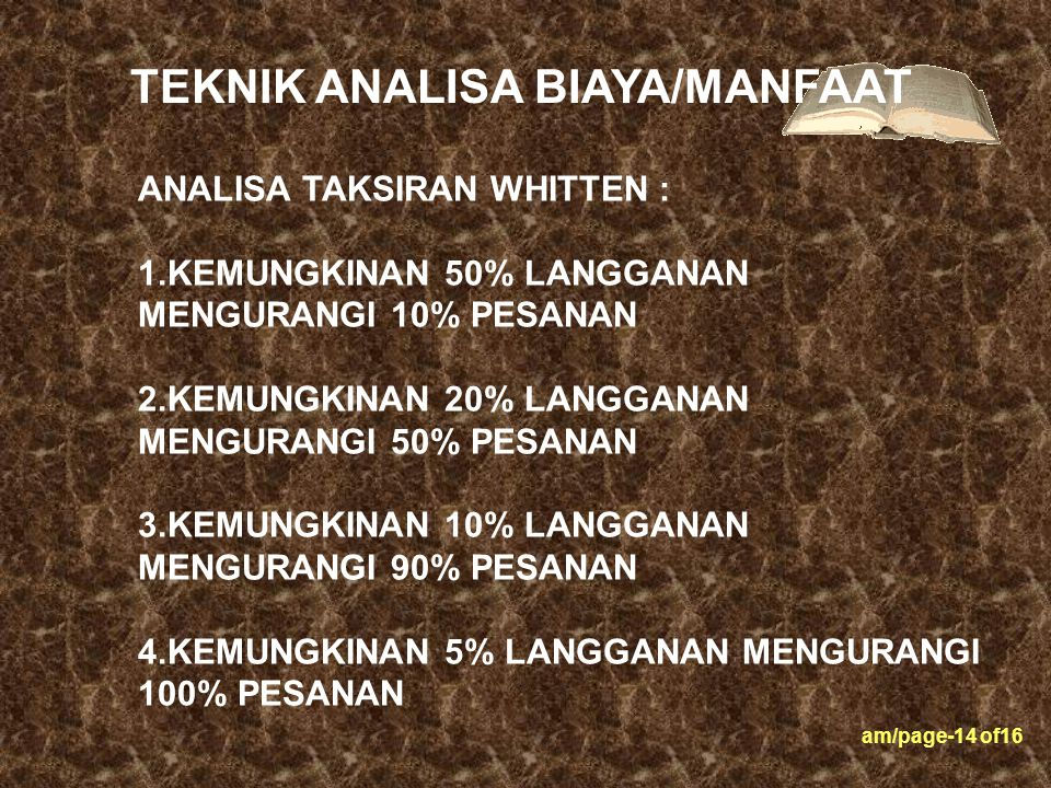 TEKNIK ANALISA BIAYA/MANFAAT