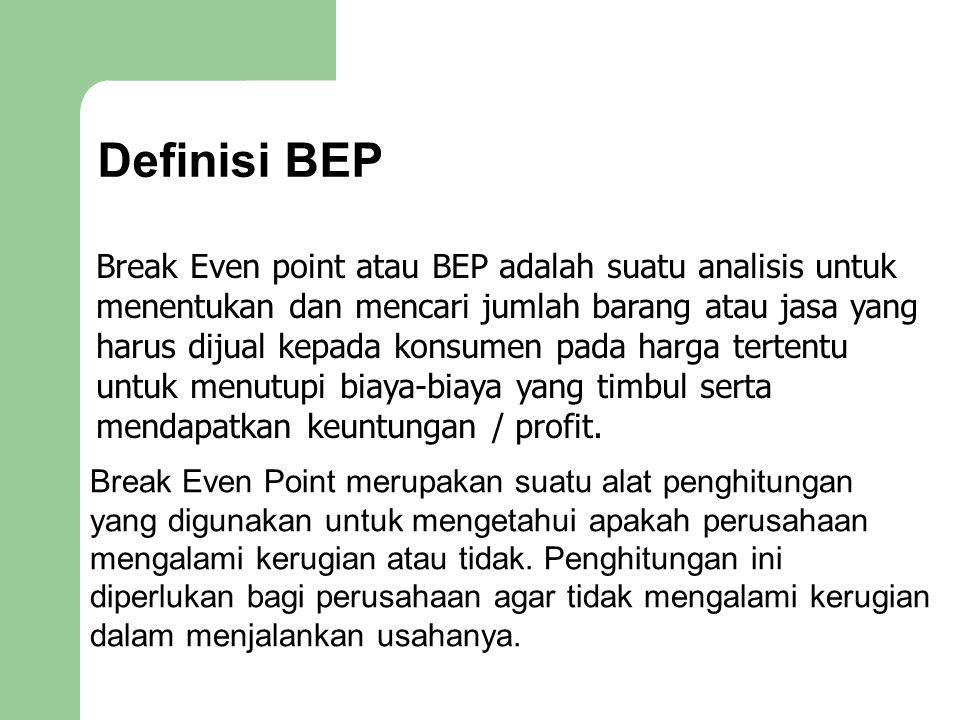 Definisi BEP