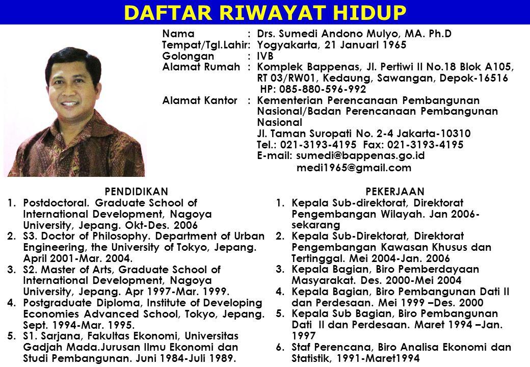 DAFTAR RIWAYAT HIDUP Nama : Drs. Sumedi Andono Mulyo, MA. Ph.D