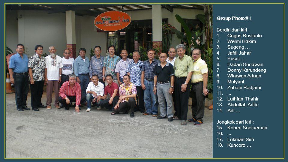 Group Photo #1 Berdiri dari kiri : Gugus Rusianto. Welmi Hakim. Sugeng … Jafril Jahar. Yusuf …